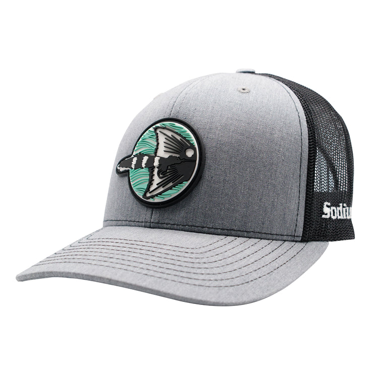 Heather Grey/ Black Sodium Redfish Fly Patch Adj Hat