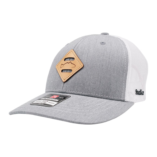 Youth Heather Grey/White Diamond Redfish Patch Adj Hat