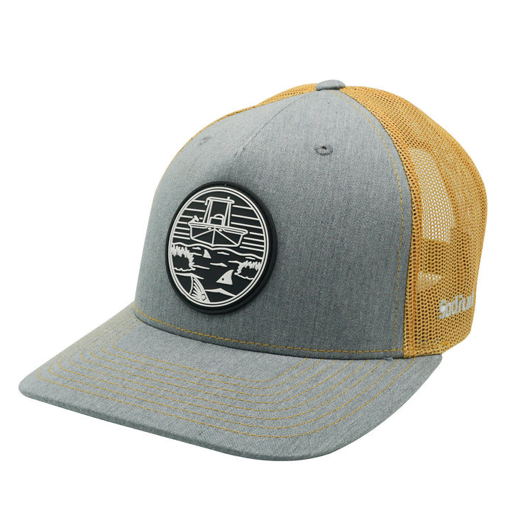 Heather Grey/Amber Gold PVC Skiff Marsh Patch Adj Hat