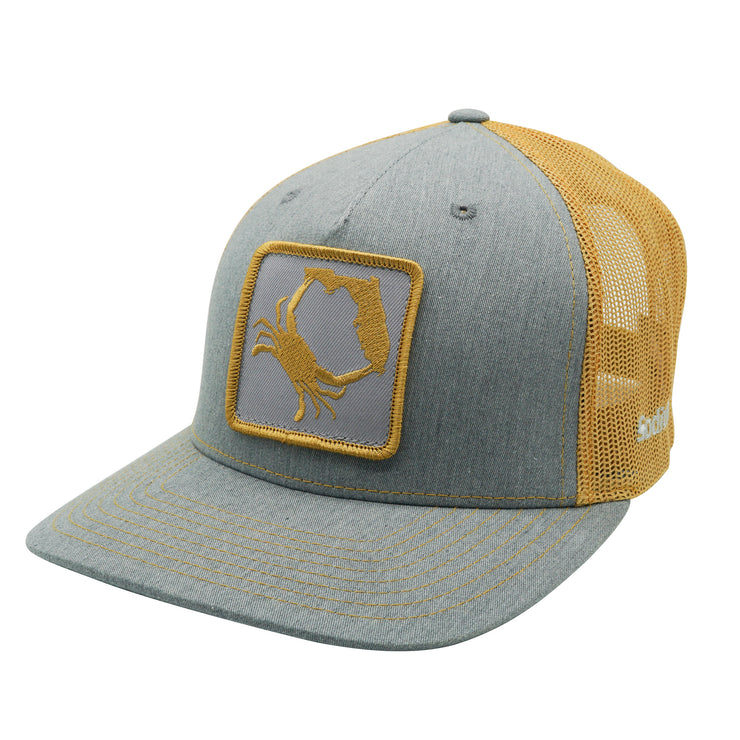 Heather Grey/Amber Gold Florida Crab Patch Adj Hat