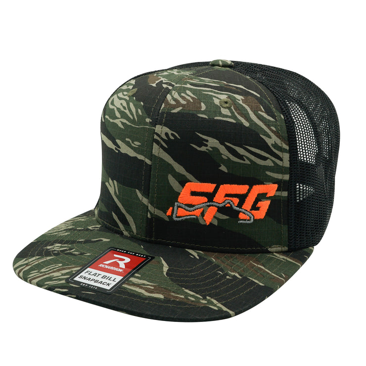Tiger Camo/Black Orange SFG Flat Bill Adj Hat