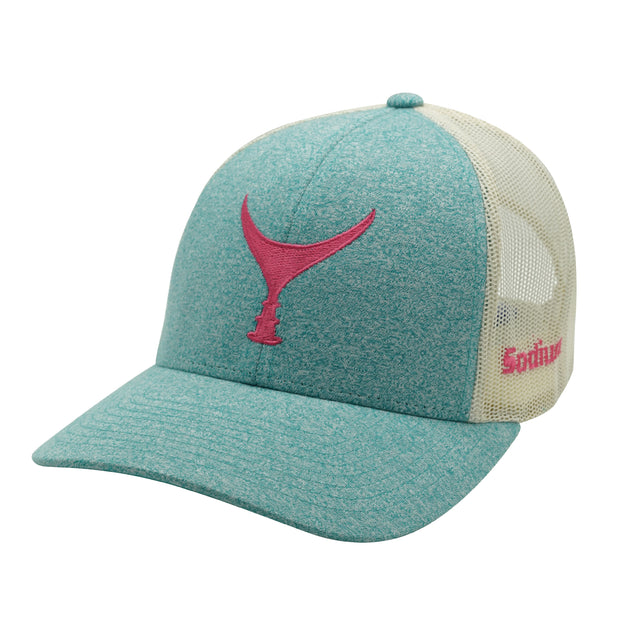 Heather Teal Birch Pink Tuna Tail Adj Hat.