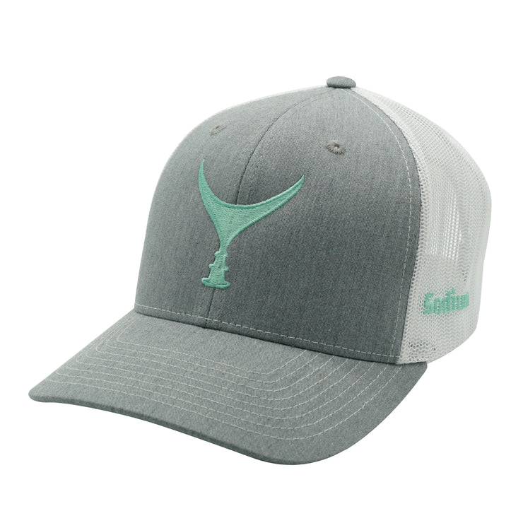 Heather Grey/White Seafoam Tuna Tail Adj Hat.