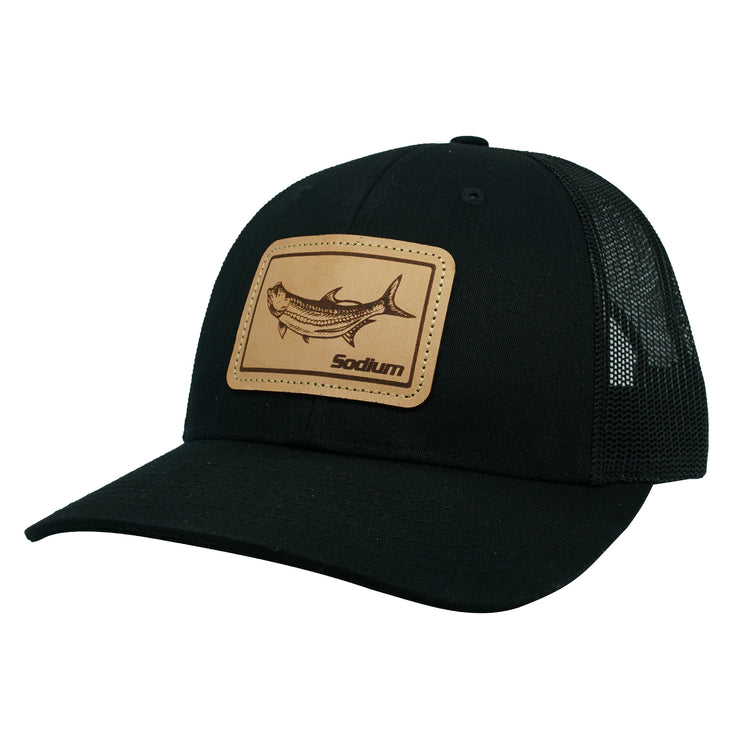 Black/Black Leather Tarpon Patch Adj Hat