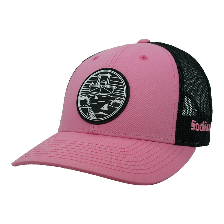 Pink/Black Rubber Marsh Patch Adj Hat