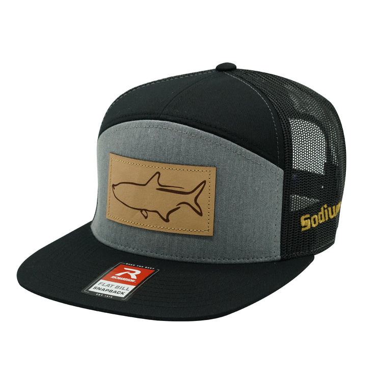 Heather Grey/Black Leather Tarpon Patch Adj Hat