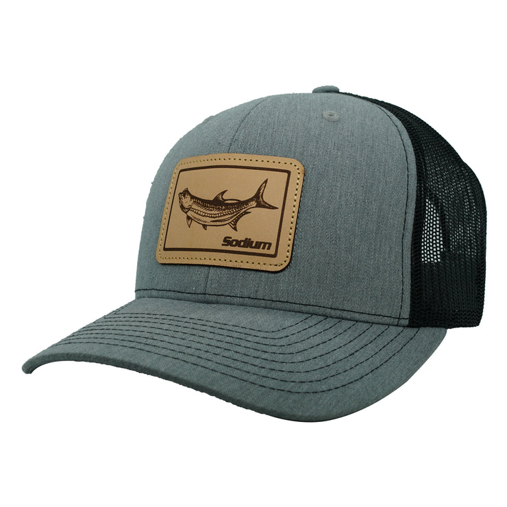 Grey/Black Leather Tarpon Patch Adj Hat