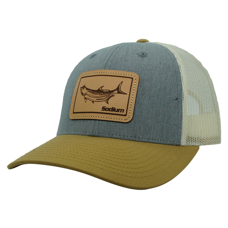 Khaki/Grey/Khaki Leather Tarpon Patch Adj Hat