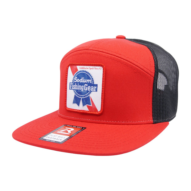 Red/Black Sodium Blue Ribbon Patch Flat Bill Hat