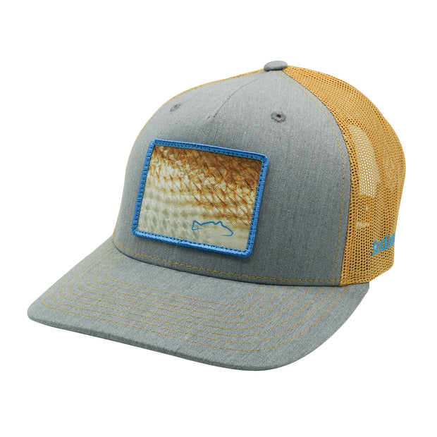 Heather Grey/Amber Gold Fish Scales Patch Adj Hat
