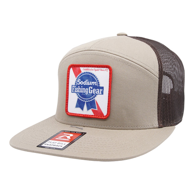 Khaki/Brown Sodium Blue Ribbon Patch Flat Bill Hat