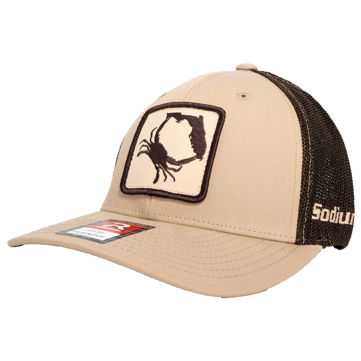 Khaki/Coffee Brown Sodium Crab Patch Adj Hat