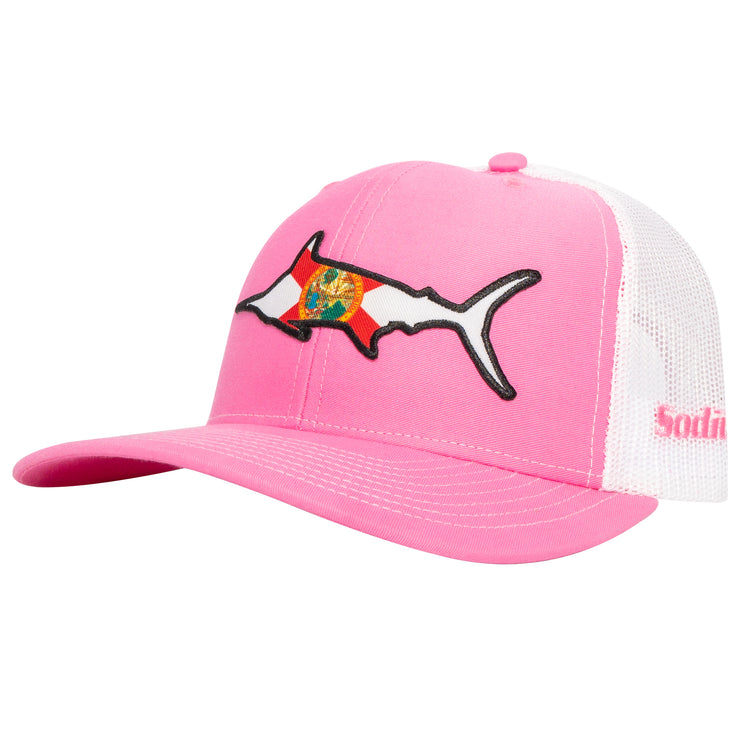 Pink/White Florida Flag Marlin Adj Hat