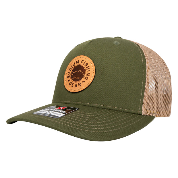 Split Green/Tan Sodium Redfish Patch Adj Hat