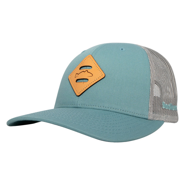 Smoke Blue/Grey Leather Redfish Diamond Patch Adj Hat