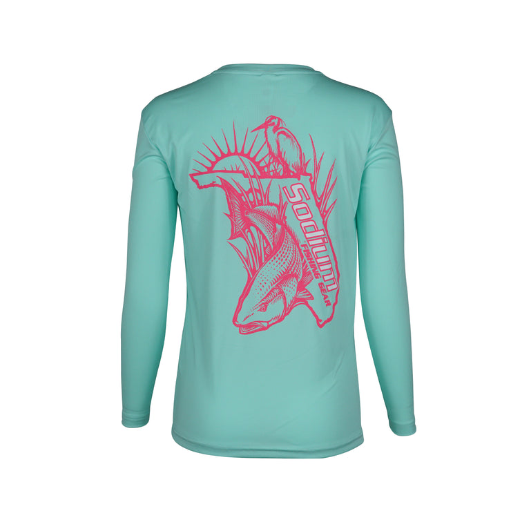 Youth Seafoam Pink Florida RedFish Long Sleeve