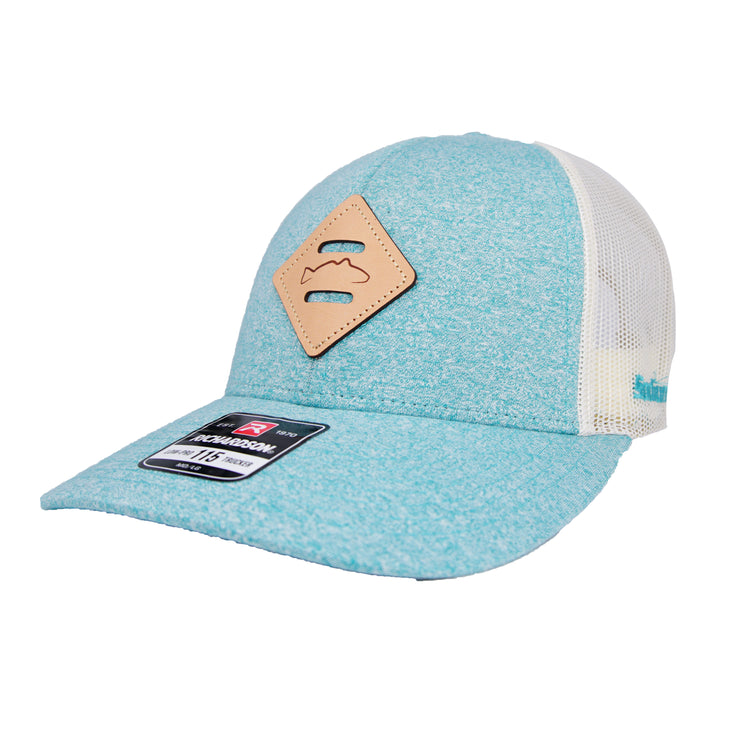 Teal/Heather Leather Redfish Patch Adj Hat