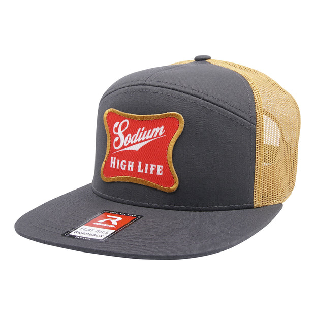 Charcoal/Gold Sodium High Life Patch Flat Bill Hat