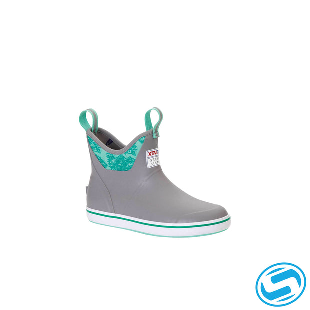 "Xtra Tuf Women's 6 In Ankle Deck Boot ""Gray/Kelp Print"""