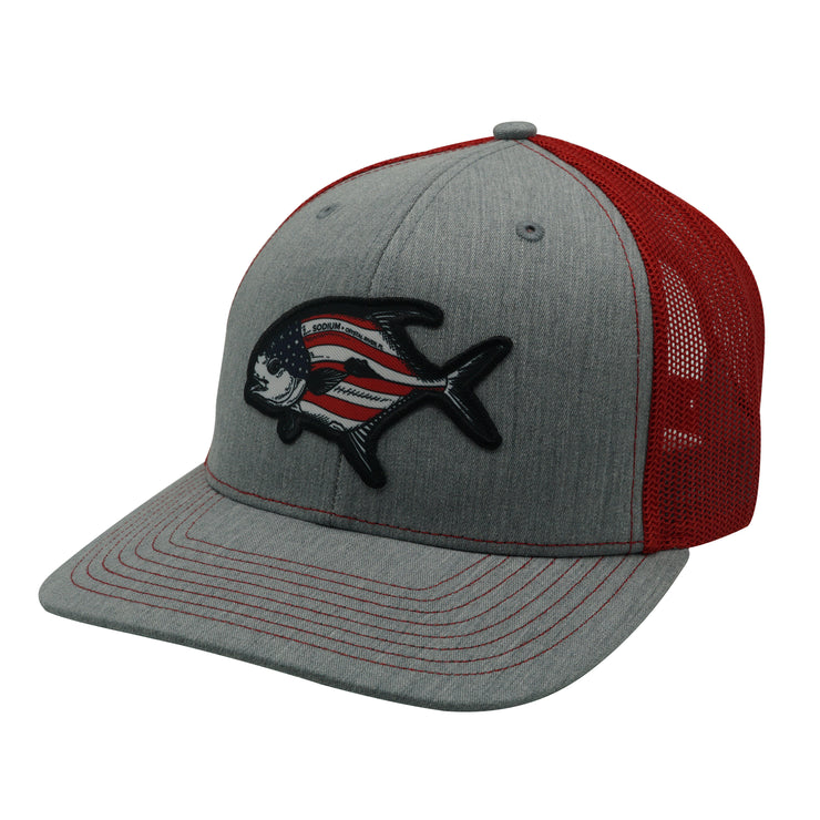 Heather Grey/Red American Permit Adj Hat