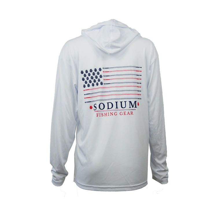 Men's White Sodium Flag Long Sleeve Hoodie
