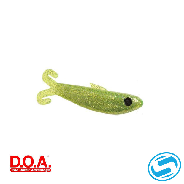 "D.O.A. 4"" Chartreuse/Silver Glitter Bait Buster Shallow"