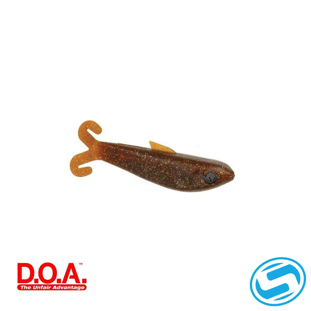 "D.O.A. 4"" Rootbeer/Gold Glitter Bait Buster Shallow"