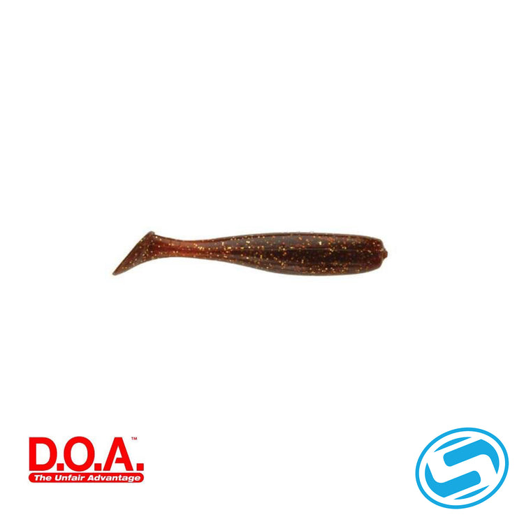 "D.O.A. 3"" Rootbeer/Gold Glitter Paddle Tail"