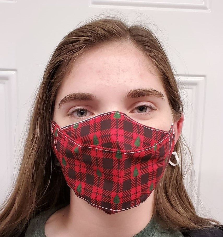 Christmas Tree Red Buffalo Plaid No Fog Face Mask - Adjustable