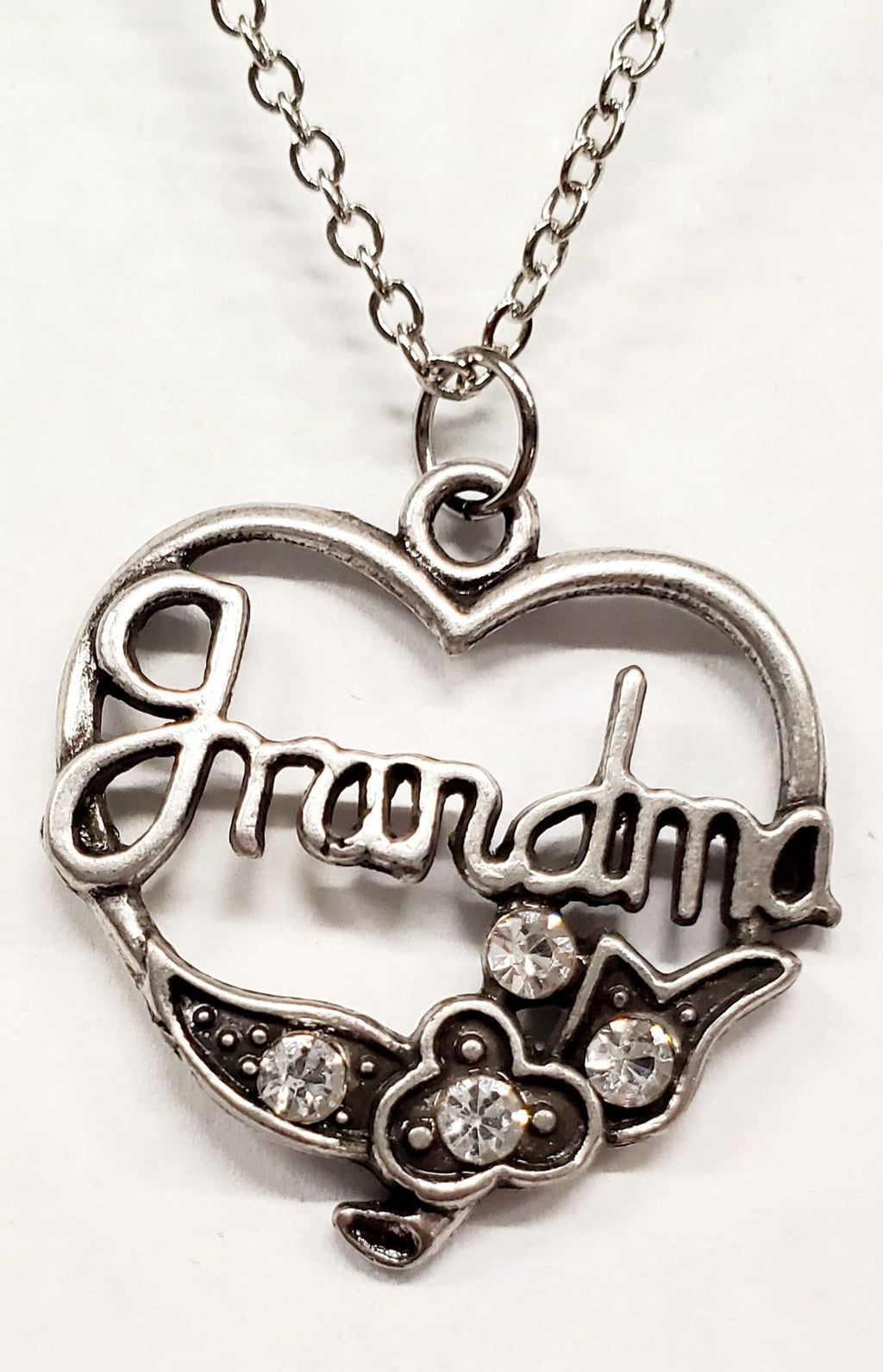 Grandma Heart Necklace Silver