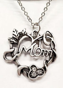 Mom Heart Necklace Silver