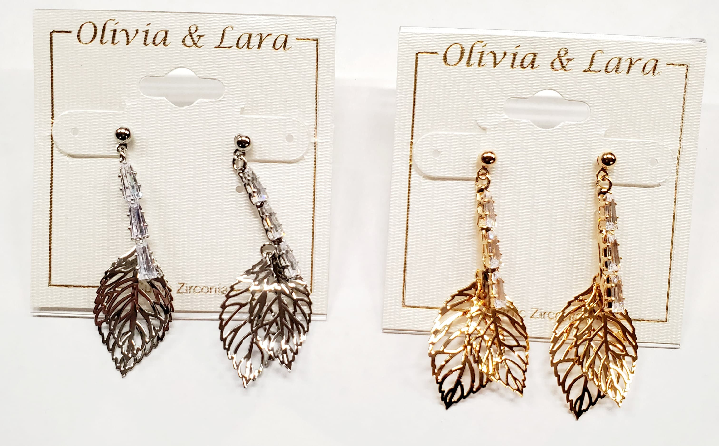 Leaf Dangle Earrings w/ Cubic Zirconia