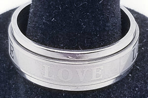 Men's Stainless Steel LOVE Spinner Ring Band Silver Tone with a Raised Center