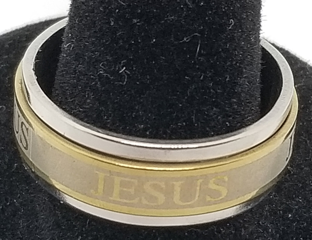 Men's Stainless Steel JESUS Spinner Ring Band Silver & Gold tone with a raised center