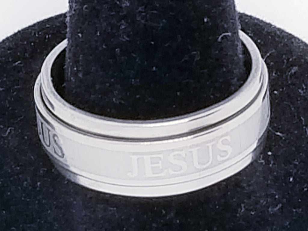 Men's Stainless Steel JESUS Spinner Ring Band Silver Tone with a raised center