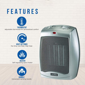 Lasko Ceramic Portable Space Heater, Silver 754200