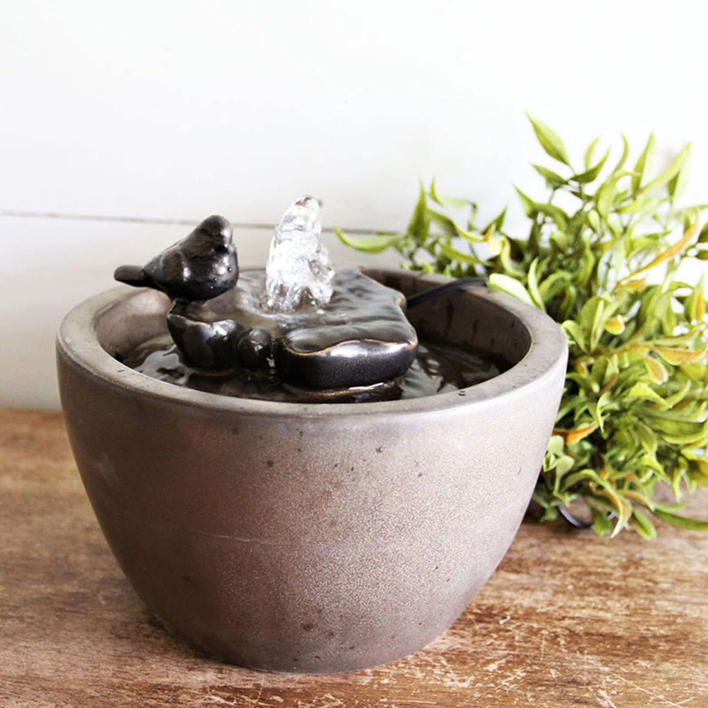 Home & Garden Bronze Sparrow Bird on Leaf Indoor Water Fountain with Pump