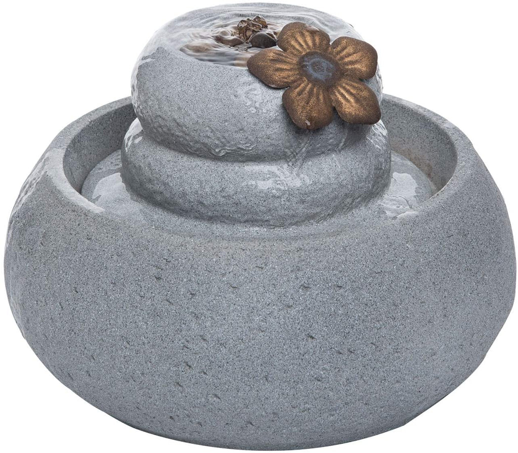Round Stones Water Fountain With Flower & Pump