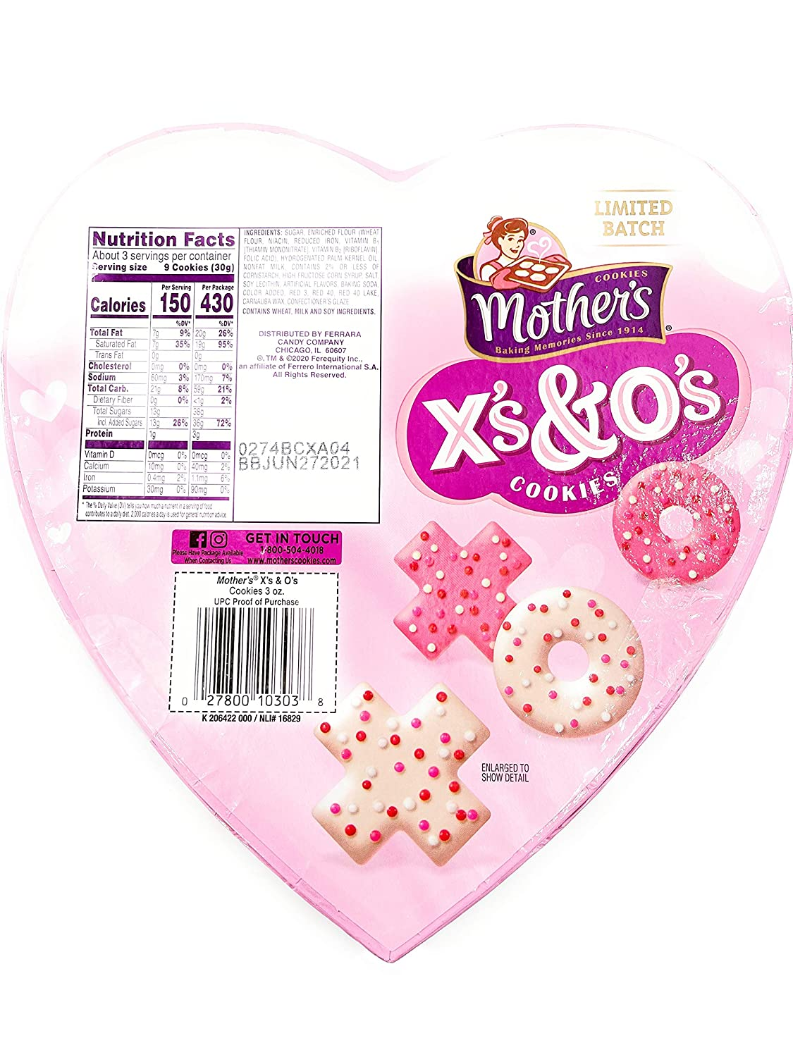 Mother's Valentine's Day Hugs & Kisses Cookies, 3oz Heart-shaped Gift Box