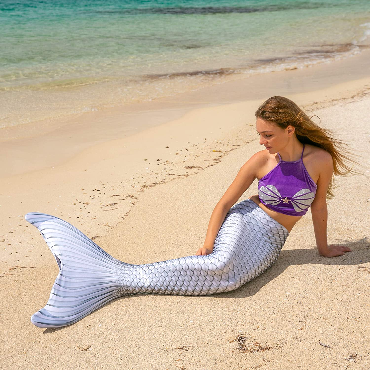Fin Fun Mermaid Tail, Reinforced Tips, Tropical Sunrise, with Monofin, Adult & Children's Sizes