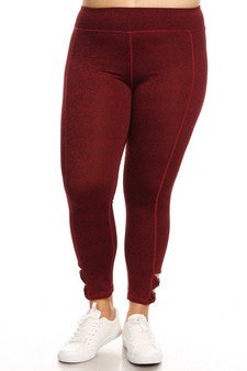 Active leggings w/ bow cutout detail Red/ Burgundy Yoga pants