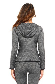 Women's active wear zip up jacket with hoodie