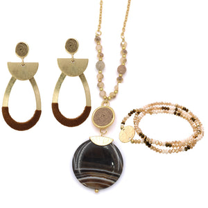 Brown Jewelry Set - Genuine Stone Pendant Necklace, Thread Wrapped Earrings & Beaded Bracelet
