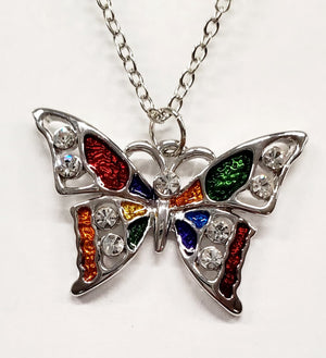 Austrian Crystal Butterfly Necklace & Earring Set