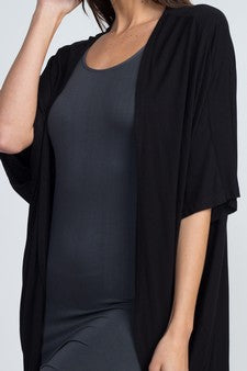 Women's Short Sleeve Open Front Cardigan Black