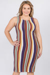 Women's Sleeveless Multicolored Striped Bodycon Dress