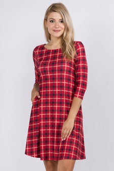 Women's Plaid Pinafore A-Line Swing Dress Tunic Top