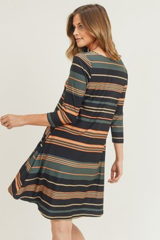 Women's Multi-Striped Swing Dress with Pockets Tunic Top