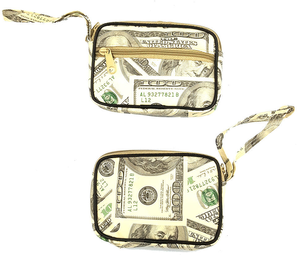 $100.00 Hundred Dollar Bill Wristlet Coin Purse 2 Zippers Perfect for Lipstick, Change, Ect.