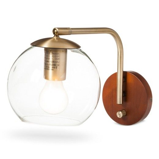 Menlo Glass Globe Wall Light Brass Includes Energy Efficient Light Bulb - Project 62 - 1 piece